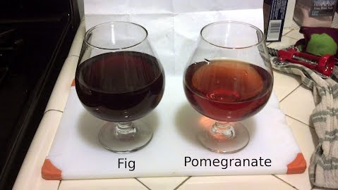 fig and pomegranate wine samples